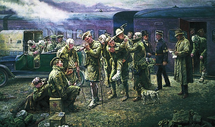 Arrival of a Convoy of Wounded Soldiers at Maidstone Station by Frank Hyde