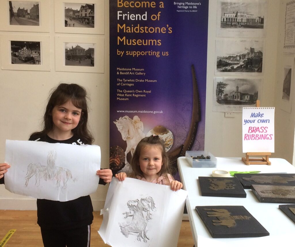 Young visitors to Maidstone Museum try brass rubbing